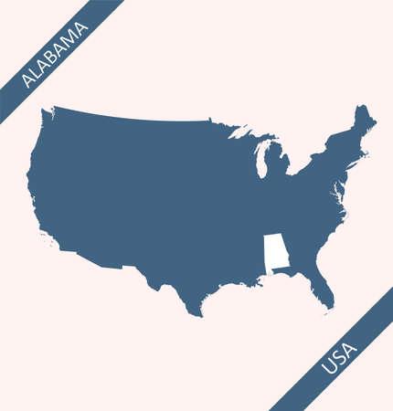 Alabama on USA map vector
