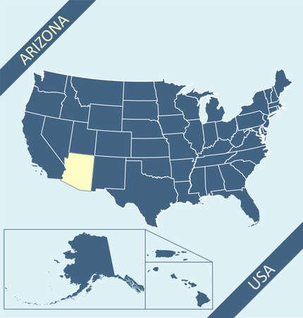 Arizona on USA map vector