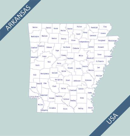 County map of Arkansas USA