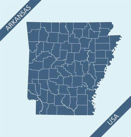 Counties map of Arkansas USA