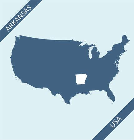 Arkansas state on USA map