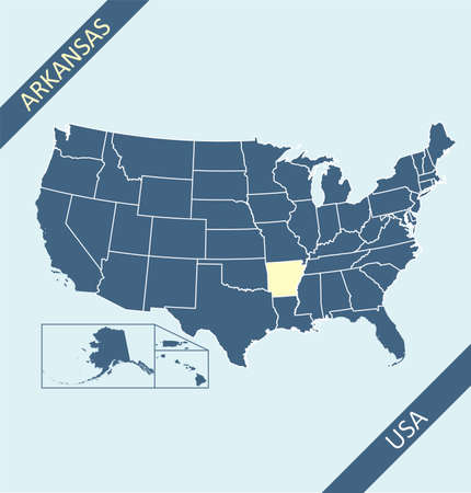 Arkansas highlighted on USA map 矢量图像