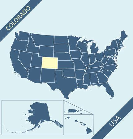 Colorado on USA map vector 免版税图像 - 152238395