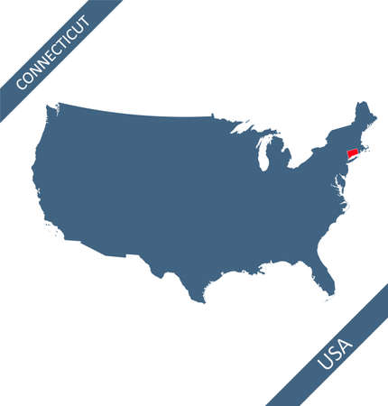 Connecticut state on USA map