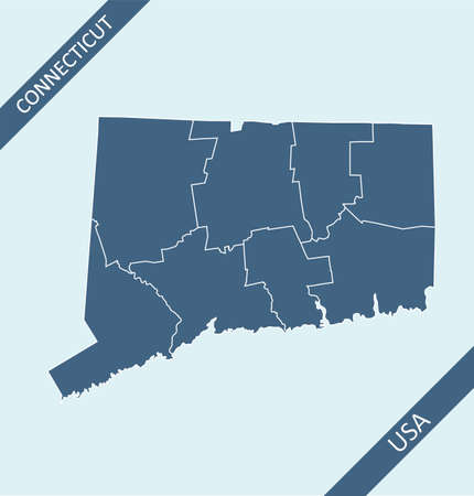 Counties map of Connecticut USA