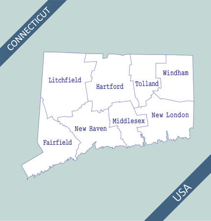 County map of Connecticut USA