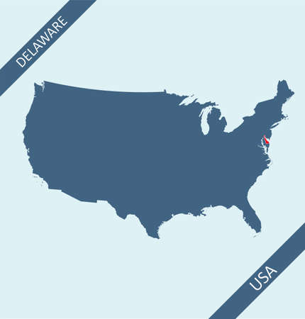 Delaware highlighted on USA map