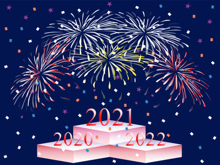 happy new year 2021 postcard background. The new year of 2021 is the winner of the time competition between 2020 and 2022. Congratulations 2021 on your win! 免版税图像 - 154257632