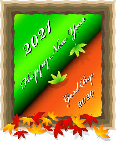 Happy New Year 2021 clip art image with abstract concepts of seasonal and time change 免版税图像 - 154257634