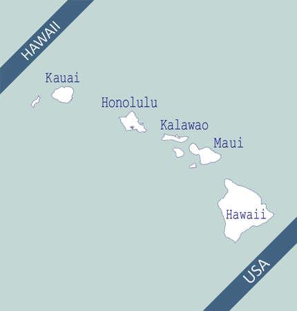 Counties map of Hawaii USA