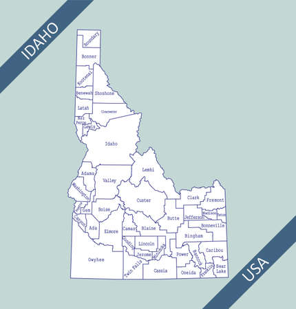 County map of Idaho USA 免版税图像 - 154521575