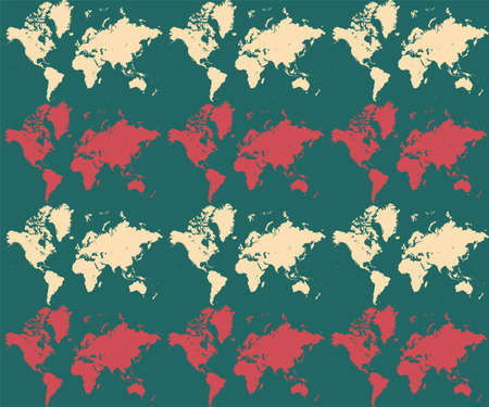 World map on seamless patterns camouflage textile background