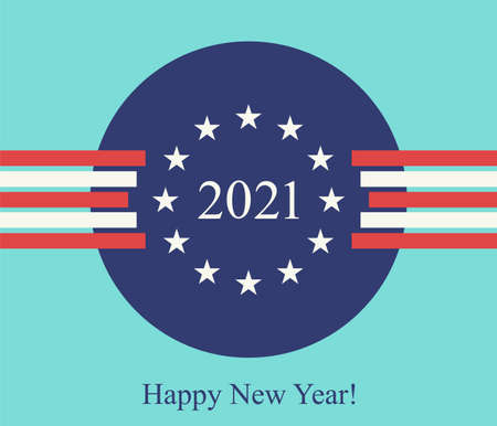 Happy new year 2021 postcard with concepts of clock (white stars) and time change (crossing red and white ribbons) on the abstract background of United States of America flag