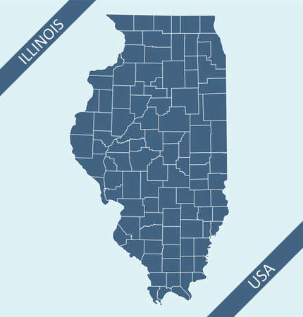 Counties map of Illinois USA 矢量图像