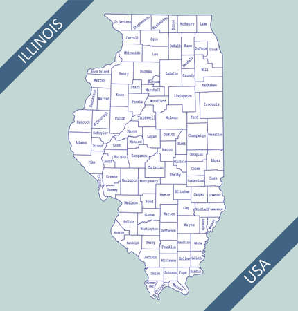 County map of Illinois USA