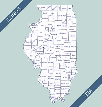 County map of Illinois USA 免版税图像 - 154521585