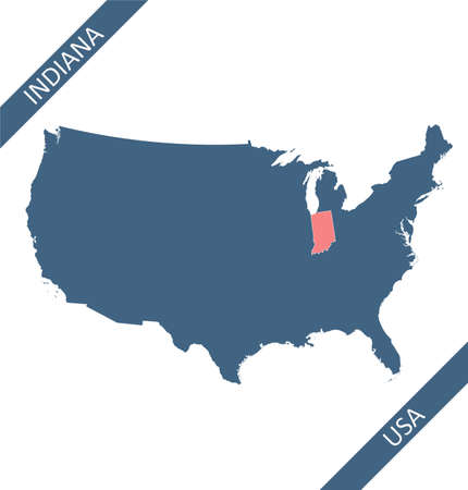 Indiana highlighted on USA map