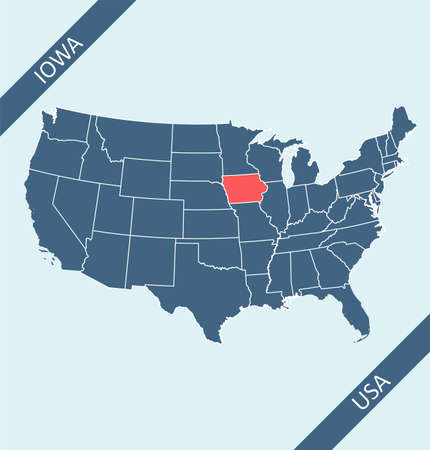 Iowa location on United States of America map 矢量图像