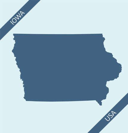 Blank map of Iowa USA