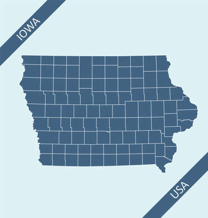 County map of Iowa United States of America