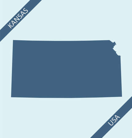Blank map of Kansas USA