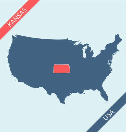 Kansas location on United States of America map