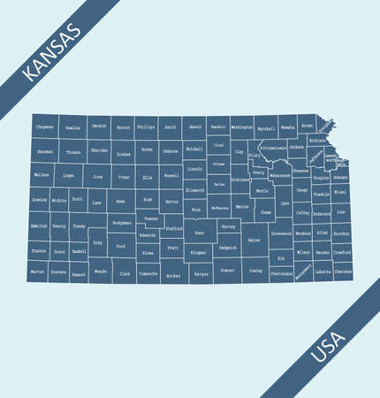 County map of Kansas labeled Stock Illustratie