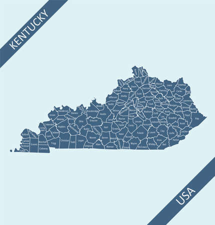 County map of Kentucky labeled  イラスト・ベクター素材