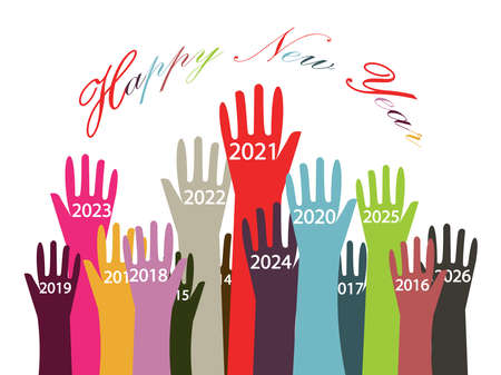 Happy new year 2021 postcard with diversity and friendship and love concepts