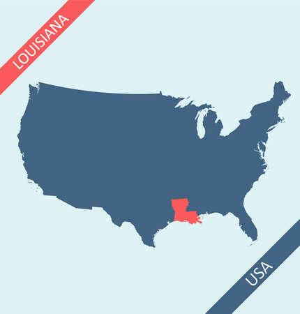 Louisiana state on USA map