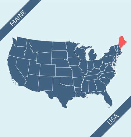 Maine location on USA map