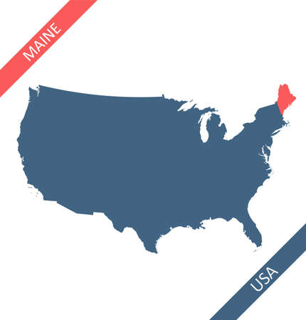 Maine highlighted on USA map 矢量图像