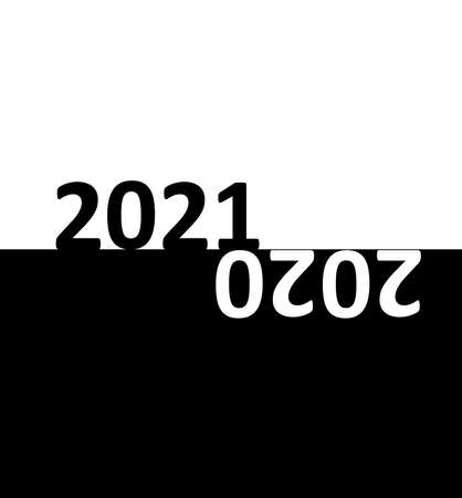Black (night) and white (day) background of starting new year 2021 in the morning while the year of 2020 is ending at night. A conceptual graphic design of midnight time and light changes Stock Illustratie