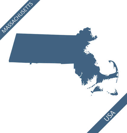 Blank map of Massachusetts USA Stock Illustratie