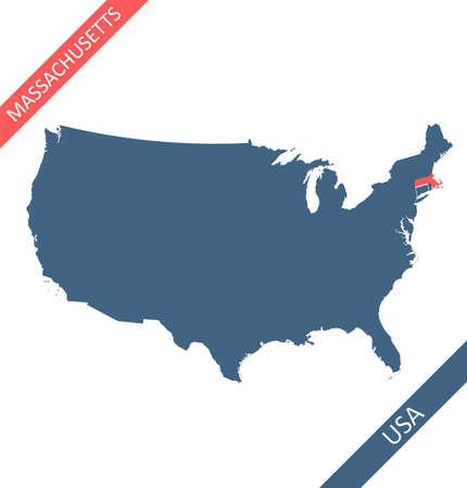 Massachusetts highlighted on USA map