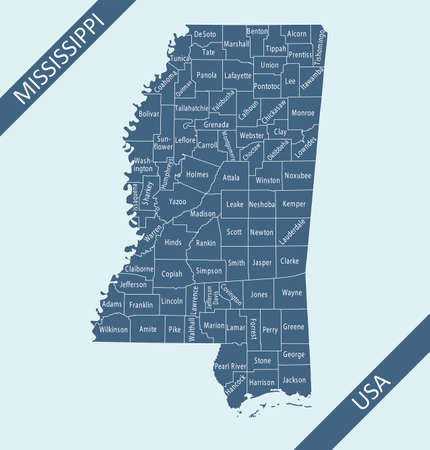 County map of Mississippi labeled Stock Illustratie