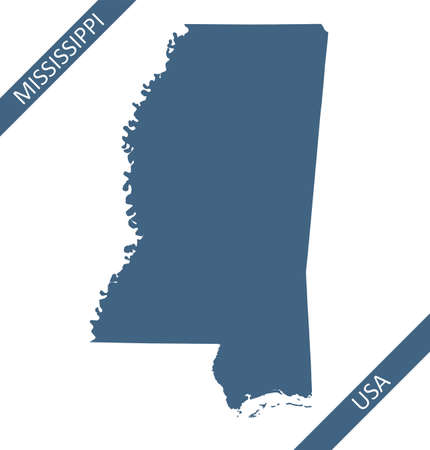 Blank map of Mississippi USA