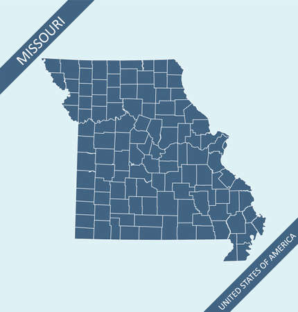 Missouri county map vector outlines
