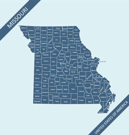 Missouri counties map vector outlines