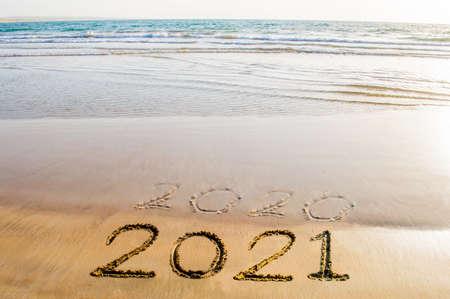 Happy New Year 2021 beach Stockfoto