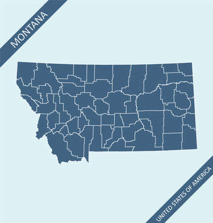 Montana county map vector outlines