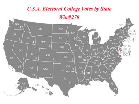 USA electoral college votes by state