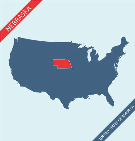 Nebraska highlighted on USA map