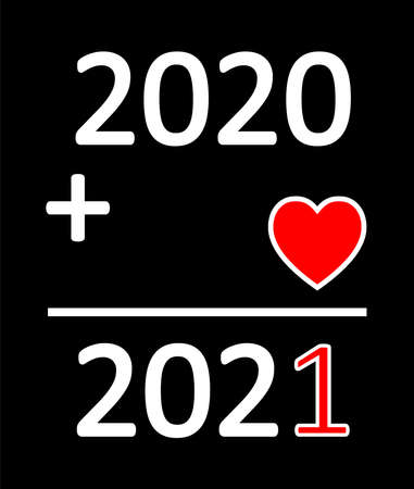 Happy New Year 2021 background of love with a mathematical equation Stock Illustratie