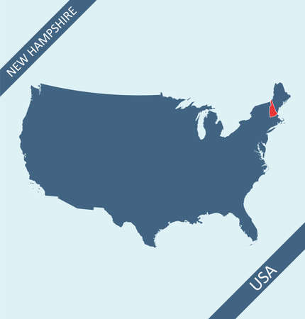 New Hampshire location on USA map Stock Illustratie