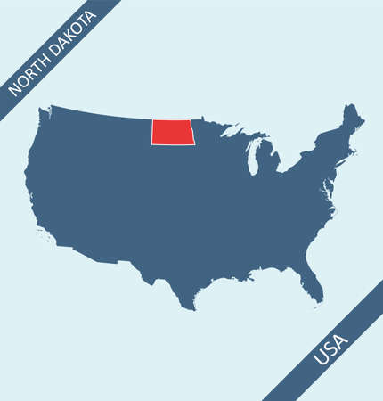 North Dakota location on USA map Stock Illustratie