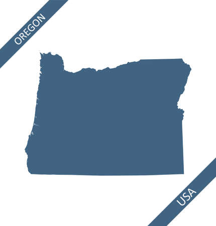 Oregon blank map vector outlines