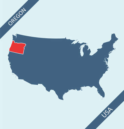 Oregon location on USA map Stock Illustratie