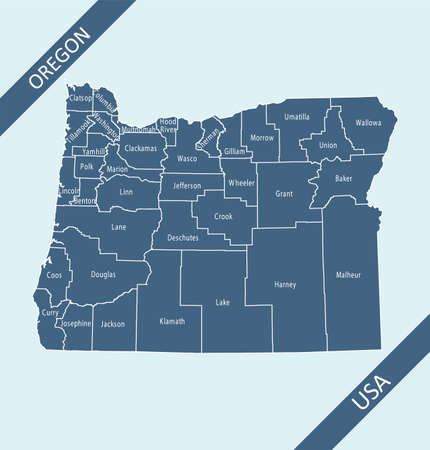 Oregon counties map outlines vector Stock Illustratie