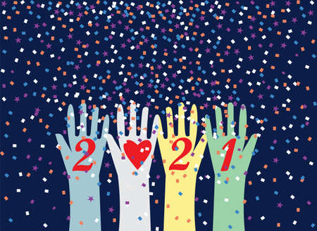 Happy New Year 2021 postcard with friendship love diversity unity victory celebration abstract backgrounds